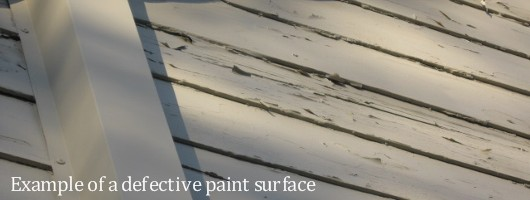 Photo of defective paint surface for FHA - by Sacramento Appraiser