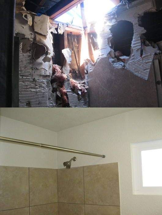 burned house bathroom before and after photos