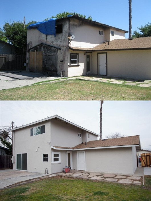 fire burned house before and after photos