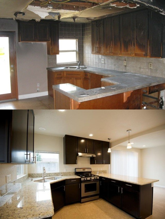 fire burned house kitchen before and after