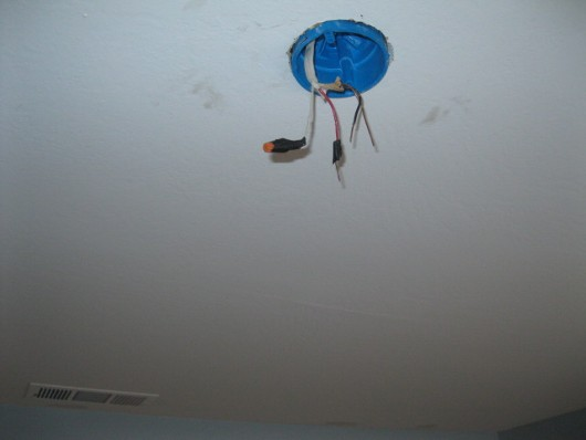 Photo of dangling wire on ceiling