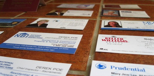 Business Cards on a kitchen counter - photo by Ryan Lundquist