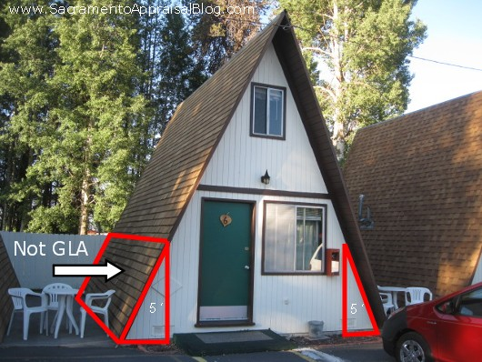 A-frame house square footage rule demonstration - by Sacramento Appraisal Blog