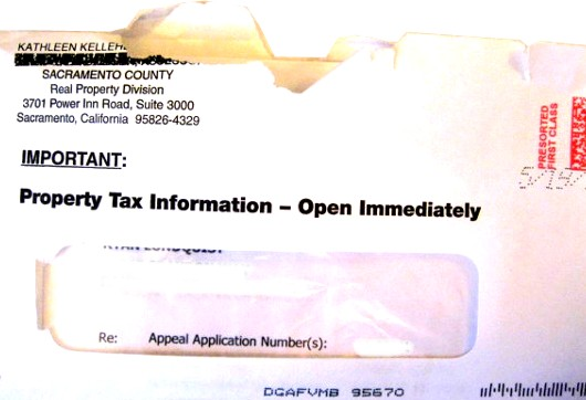 Letter from Assessors Office in Sacramento County