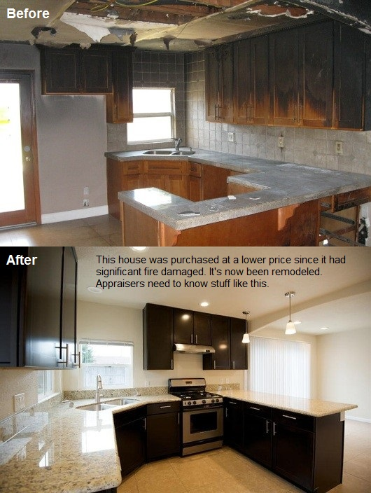 Fire burned house in Citrus Heights - before and after remodel by Housing Group Fund