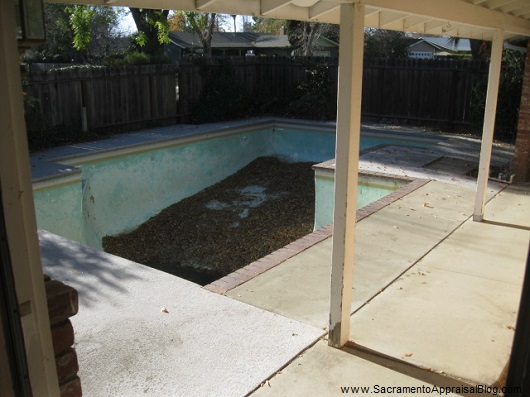 view from front door with pool in front yard - sacramento appraisal blog