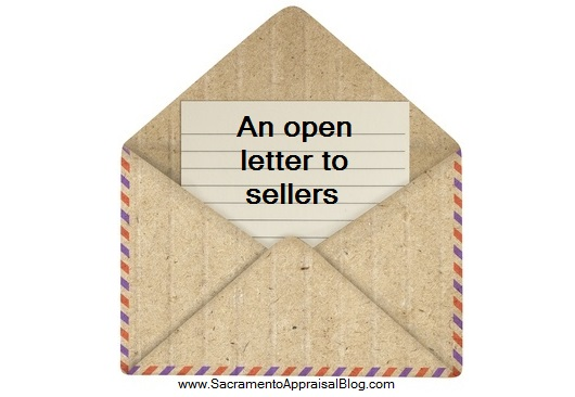 an open letter to sellers from sacramento appraisal blog - image purchased and used with permission