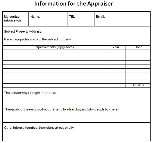A Cheat Sheet Of Information To Give The Appraiser During A Refinance