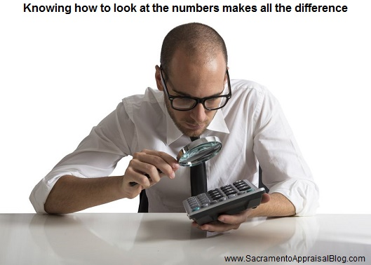 Looking at the numbers - image purchased and used with permission by sacramento appraiser blog