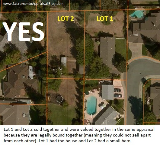 Lot 1 and 2 example by Sacramento Appraisal Blog
