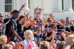 Sacramento Republic FC soccer team celebrate their championship.