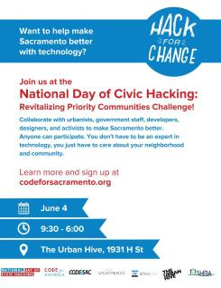 Hack for Change – Poster – Sacramento 2016