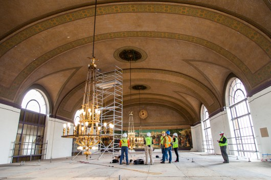 Sacramento Valley Station is seen above the scaffolding while experts work to restore portions of the inner lobby.