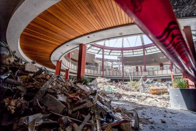 What looks like a war scene is actually the site of demolition of the downtown plaza mall to make way for a new Entertainment & Sports Center project.