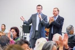 Council Member Steve Hansen and City Manager John Shirey speak at the Hart Center Re-Opening Celebration