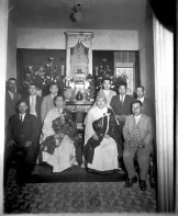 Mrs. Toshiko Akiyama identified several of the founding members of the church in this early 1930s photo. Standing, left to right, Mr. (Kaname?) Hitomi; unidentified; unidentified, Mr. Takeshi Hitomi; Mrs. Akiyama's father, Matsuji Nasu; and Mr. Yamaguchi. Front, left, is Mr. Kazuji Suiyama.