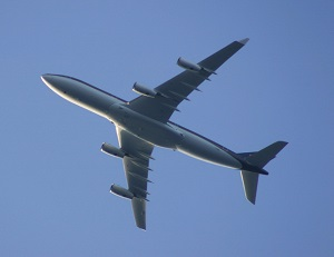 Picture of commercial airplane as symbol for Sacramento International Airport