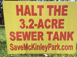 Photo of a anti-McKinley Park Water Vault Project awn sign