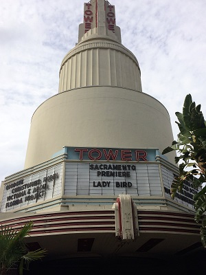 Picture of Tower Theatre where the film Lady Bird is playing