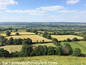 Photo of English countryside from top of Glastonbury Tor