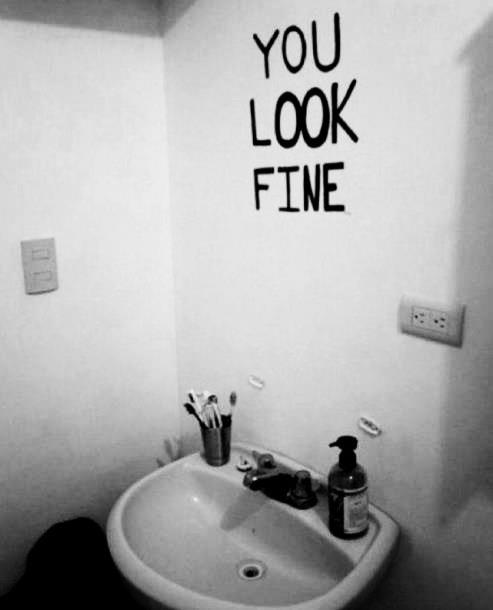 You Look Fine, unknown artist. For more on body image, and hopefully not passing on body hatred to our kids, click through.| Sacraparental.com