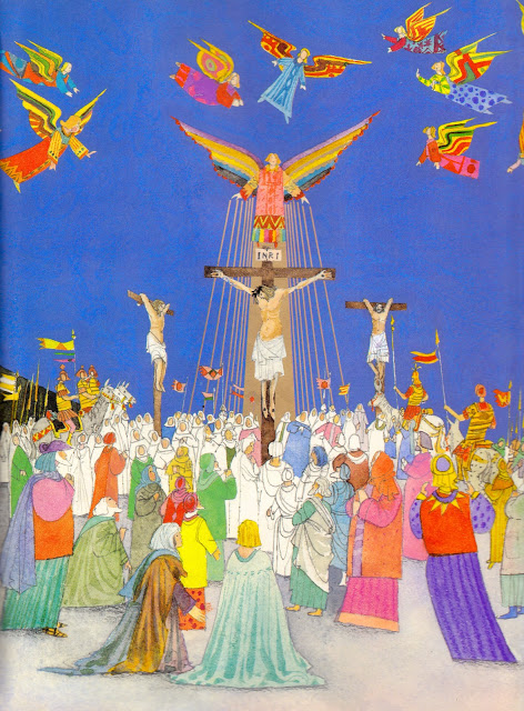 Crucifixion scene from The Easter Story by Brian Wildsmith | Sacraparental.com