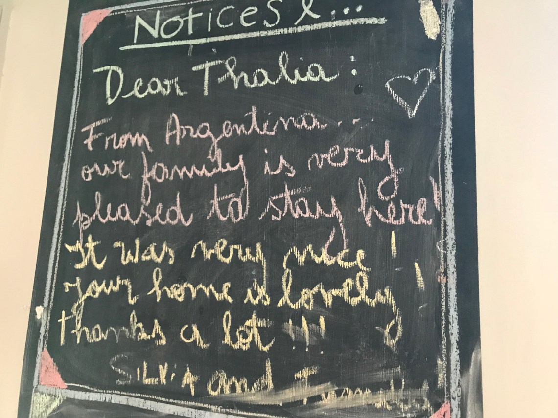 A note left on our blackboard by guests from Argentina