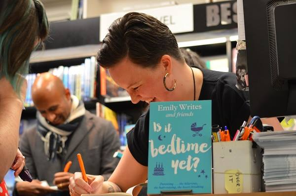 Emily Writes, signing books at the book launch for Is It Bedtime Yet?