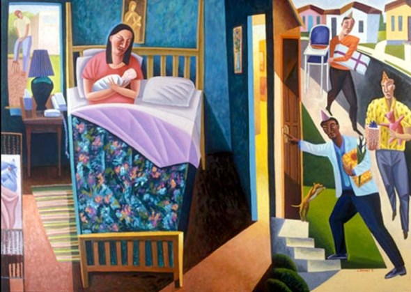 Nativity, James B Janknegt, 2002, used with permission in last year's blog Advent in Art posts.