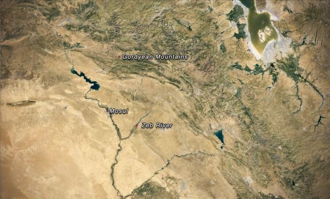 gordyean mountains, noahs flood, zeb river, mosul, flood