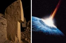 Stone carvings show comet hitting Earth, wiping out the Woolly Mammoths and sparking a rise in civilization.