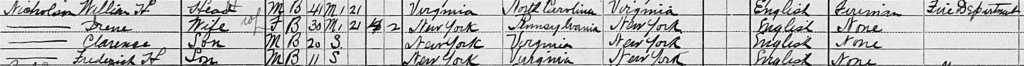 William H. Nicholson Family, 1910 Census, Brooklyn, New York. Ancestry.com
