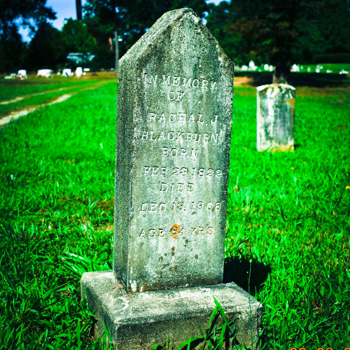 Caroline County, Virginia: Gravestone of Mrs. Rachel Blackburn (1822-1906)