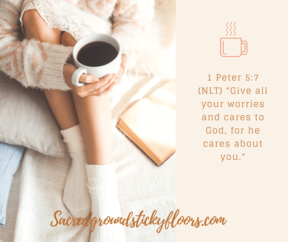 photo of a woman comfortable in bed with coffee and 1 peter 5:7