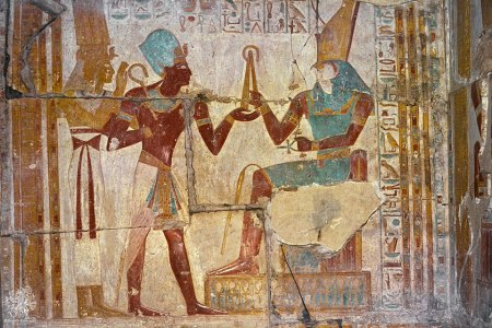Artwork inside the Temple of Seti I at Abydos