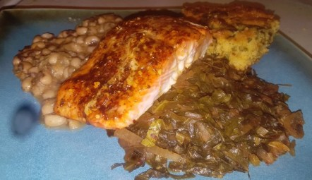 Peas Collards Trout and Cornbread