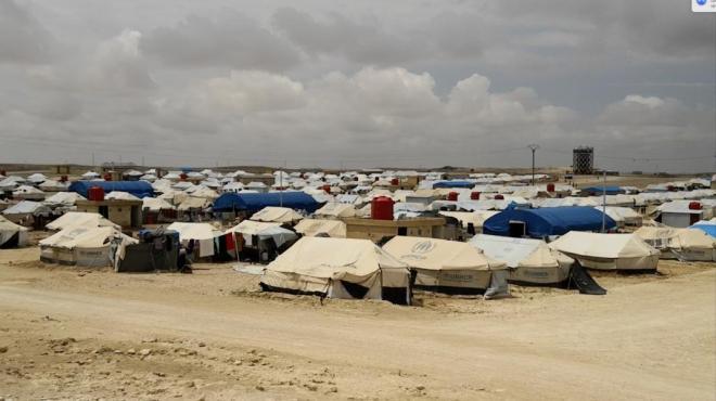 مشهد من تلة تطل على مخيم عين عيسى للنازحين في سوريا، مايو/أيار 2018. © 2018 هيومن رايتس ووتش