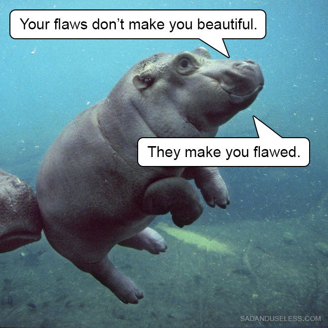 Your flaws don't make you beautiful, they make you flawed.