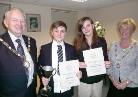 WINNERS: Will and Catherine receive their awards from Cllr Brian Lord and Cllr Pat Lord