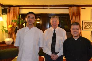TALENTED: Landlord Ray (centre) flanked by chefs Anthony and Andrew