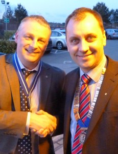 Ian Eardley, Saddleworth Round Table's new chair with Mike Procter, outgoing chair
