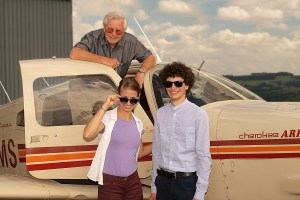 TAKE-OFF: Hanna and Zsolt with Rotary club member Malcolm Hill before their flight