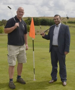 DEVELOPMENT: Mark Cumiskey, Director of Pennine Golf Ltd, with Councillor Shoab Akhtar, Deputy Leader of Oldham Council, at Bishop Park pitch and putt course