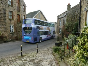 BREATHE IN: A bus struggles to get down Wood Lane