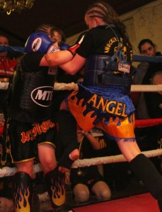 CHAMPION: Angel (pictured above) in her world-title bout.