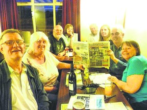 QUIZZERS: The DDs read the Independent in The Bridge Inn at Ruswarp, North Yorkshire. L-R: Steve Schofield, Sylvia Tomlinson, Geoff Iles, Jenny Cordingley, Phil Cordingley, Kathy Tomlinson, Neil Tomlinson and Janet Iles
