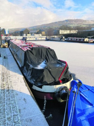 Canal boat winter GReenfield 3983 Saddleworth Captured - PAM SMALLEY
