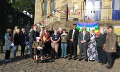 Locals and special guests gathered in Uppermill Square