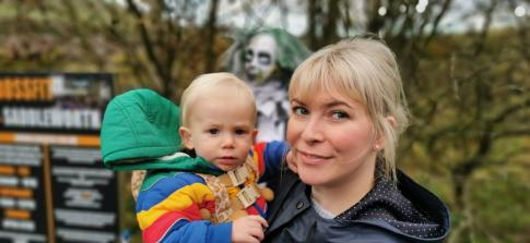 Archie McDermott with mum Hannah on his first Diggle Halloween Trail