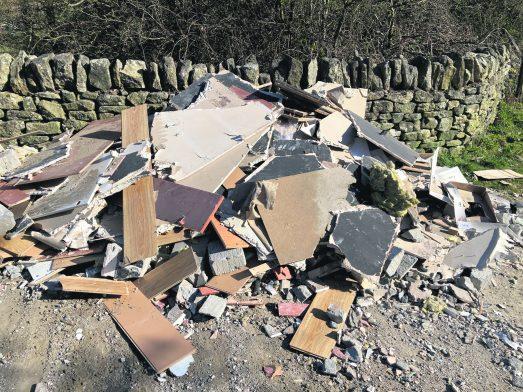 Builders waste on Harrop Edge Lane